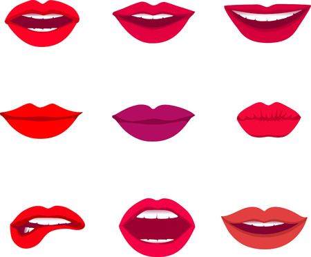 kissing lips: Red and rose kissing and smiling cartoon lips isolated decorative icons for party presentation illustration.