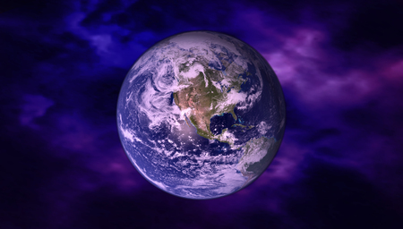 High Resolution Planet Earth view. The World Globe from Space in a star field showing the terrain and clouds. Elements of this image are furnished Imagens