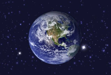 High Resolution Planet Earth view. The World Globe from Space in a star field showing the terrain. Elements of this image are furnished