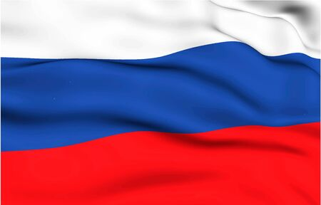 Russian flag waving in the wind. High quality illustration.