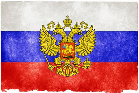 Painting flag Russia with white background