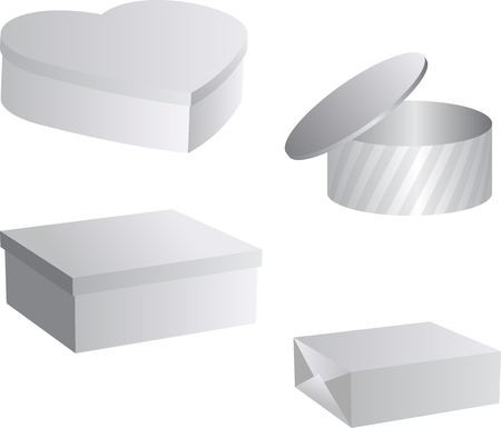 Set of flat blank boxes. Template for your design. illustration.
