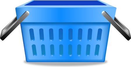 Blue shopping basket realistic image pictogram illustration.