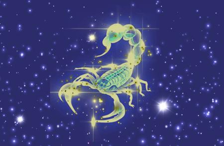 Zodiac sign Scorpio on night starry sky background illustration Imagens