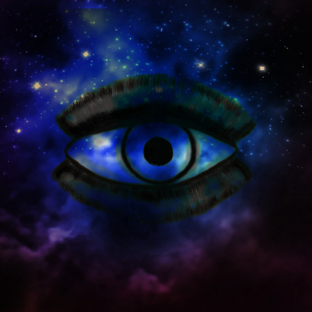 Woman Eye and cosmic space with stars and music speaker silhouette. abstract color background, eye contact, music concept. Imagens