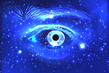 modern existence: Man Eye and cosmic space with stars. abstract color background, eye contact Stock Photo