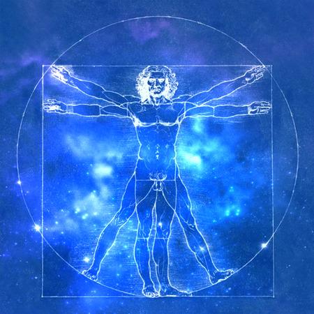 Uomo vetruviano di Leonardo Da Vinci, anatomia umana. Sfondo cosmico
