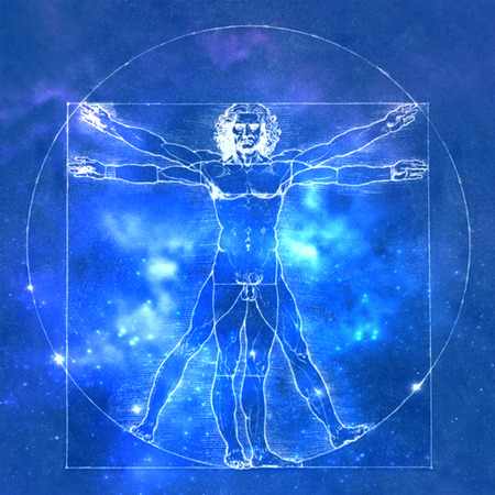 Leonardo Da Vinci Vetruvian Man, menselijke anatomie. Kosmische achtergrond Stockfoto