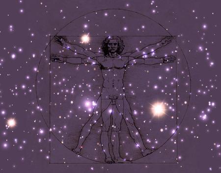 Leonardo Da Vinci Vetruvian Man, human anatomy. Cosmic background. Imagens