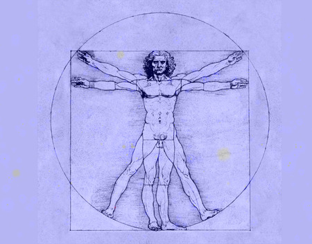 renaissance art: Drawing by Leonardo da Vinci on blue background, Vitruvian Man, Renaissance art, Cinquecento, Drawing, Stock Photo