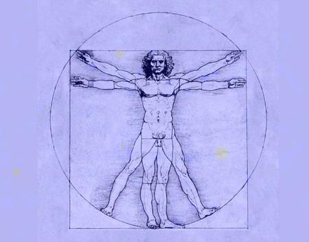 Zeichnung von Leonardo da Vinci auf blauem Hintergrund, Vitruvian Mann, der Kunst der Renaissance, Cinquecento, Zeichnung,