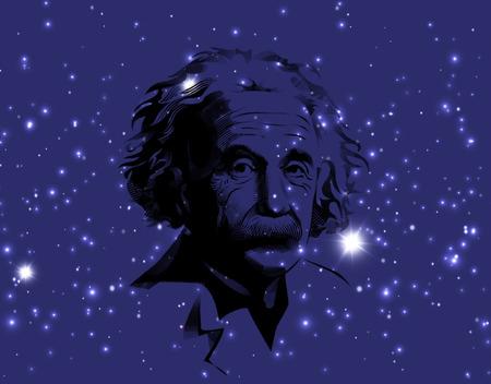 A illustration of a portrait of Albert Einstein. Portrait on cosmic galaxy background. Einstein, scientist, professor, genius, mathematician, physicist Stock Illustration - 60546968
