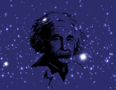 A illustration of a portrait of Albert Einstein. Portrait on cosmic galaxy background. Einstein, scientist, professor, genius, mathematician, physicist