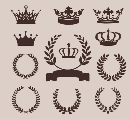desing: Crown and wreaths icons. Vector illustration for Your Desing Illustration