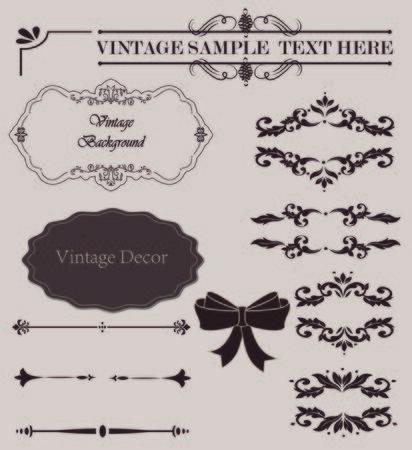 Wicker lines and old decor elements in vector. Vintage borders, frame and rosette in set. Vector page decoration , wedding album or restaurant menu Ilustração
