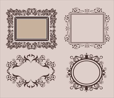 Wicker lines and old decor elements in vector. Vintage borders and frame in set. Vector page decoration. Decoration for wedding album or restaurant menu. Calligraphic design elements