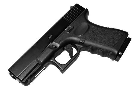 pistola: Aislado en el arma de fuego de fondo blanco y moderno