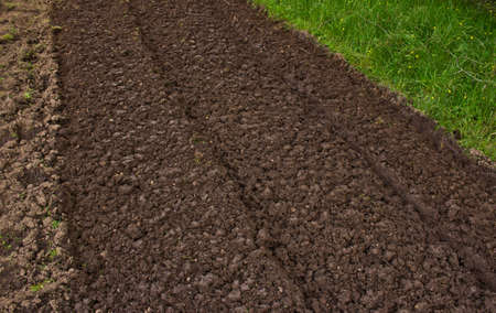 seeding: Freshly plowed field ready for planting and seeding in spring Stock Photo