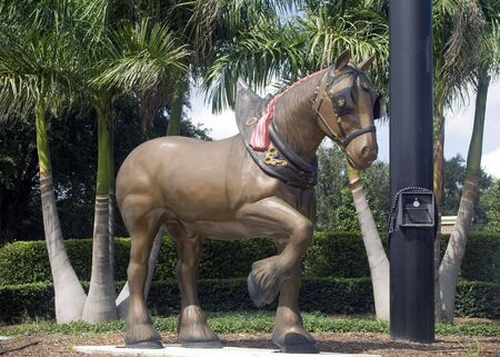 clydesdale: Large statue of the famous Clydesdale horse. Stock Photo