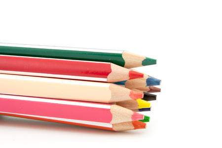 colored pencils isolated on a white background photo
