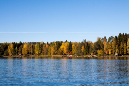 Autumn lake with trees mirroring in Finland photo