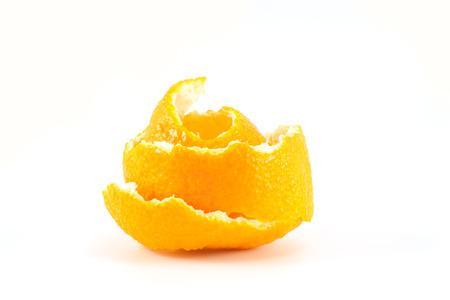 tangerine peel: Mandarin or tangerine peel on white background Stock Photo
