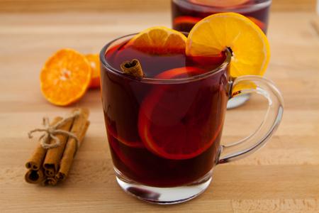 mug of mulled wine with cinnamon and orange
