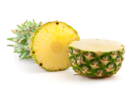 sliced ​​fresh pineapple on white background