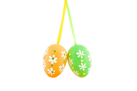 colored Easter eggs on a white background photo