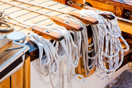 corded: nautical rope tied up on a classical tall ship Stock Photo