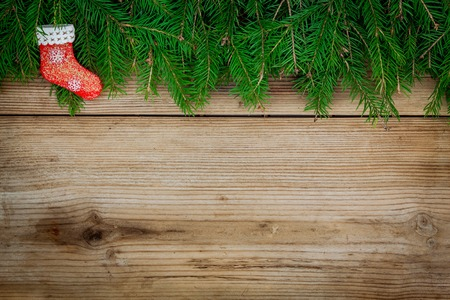 Pine tree border with red sock on old rustic wooden background photo