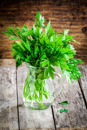 curly leafed: organic fresh bunch of parsley in a glass jar on a wooden rustic background Stock Photo