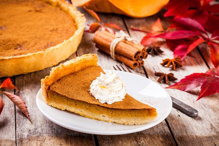 Homemade pumpkin pie on wooden rustic background selective focus