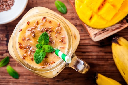 flaxseed: tropical smoothie made with mango, banana, flaxseed and mint