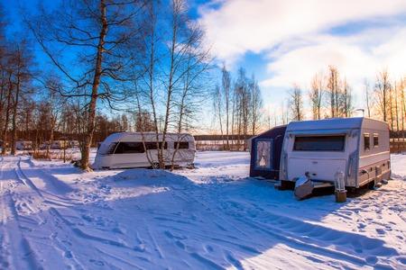 made in finland: Caravan park in winter in rural Finland