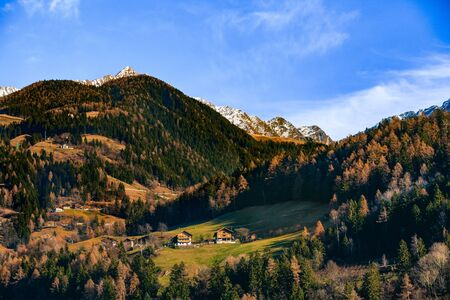 idyllic landscape in alps with mountain chalet. Dolomites alps, Italy