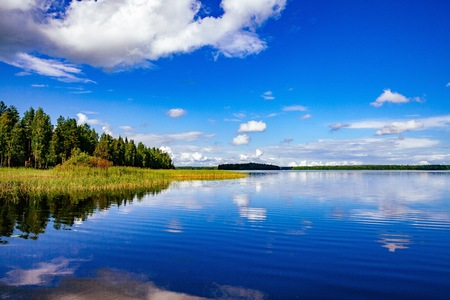 edge: Lake landscape at summer in rural Finland Stock Photo