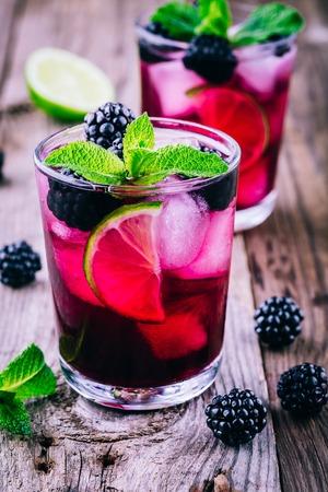 Blackberry mojito  with lime,  mint and ice