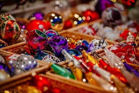 Colorful Christmas decorations on  Trentino Alto Adige, Italy Christmas market Stock Photo