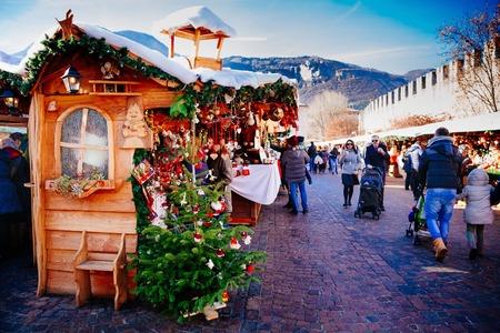 TRENTO, ALTO ADIGE, ITALY - DECEMBER 17, 2016: traditional Christmas market. Trento, Alto Adige, Italy