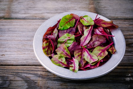 Fresh organic raw leaves of lettuce beets for salad on a wooden  background. Selective focus