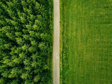 Aerial top view of a country road through a fir forest and a green field in summer in rural Finland
