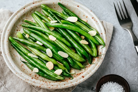 Almondine. Green beans with almonds. Side dish