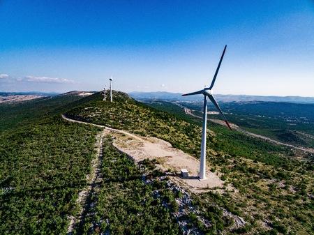 Wind turbines or windmills in desert landscape in Croatia, Renewable Energy Imagens