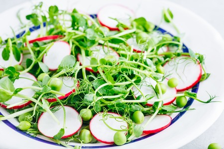Fresh summer green pea shoots salad with radishes.
