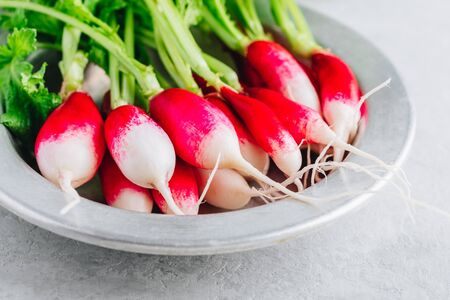 Fresh raw organic radishes in a bowl on a gray stone background. Ingredient for a healthy green salad