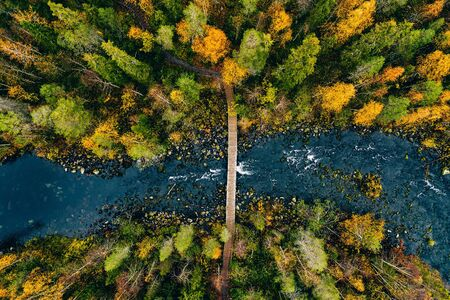 Aerial view of fast river flow through the rocks and colorful forest. Autumn in Finland, Oulanka national park. Фото со стока - 131362783