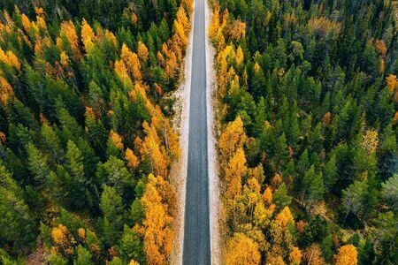 Luftaufnahme der Landstraße im gelben und orangefarbenen Herbstwald im ländlichen Finnland. Standard-Bild