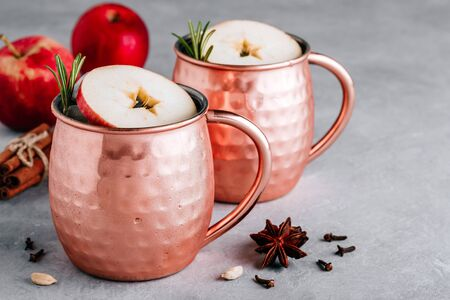 Apple Cider Moscow Mule cocktail with cinnamon stick and rosemary in copper on gray concrete stone background