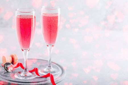 Pink cocktail with champagne or prosecco for St. Valentine's day. 写真素材